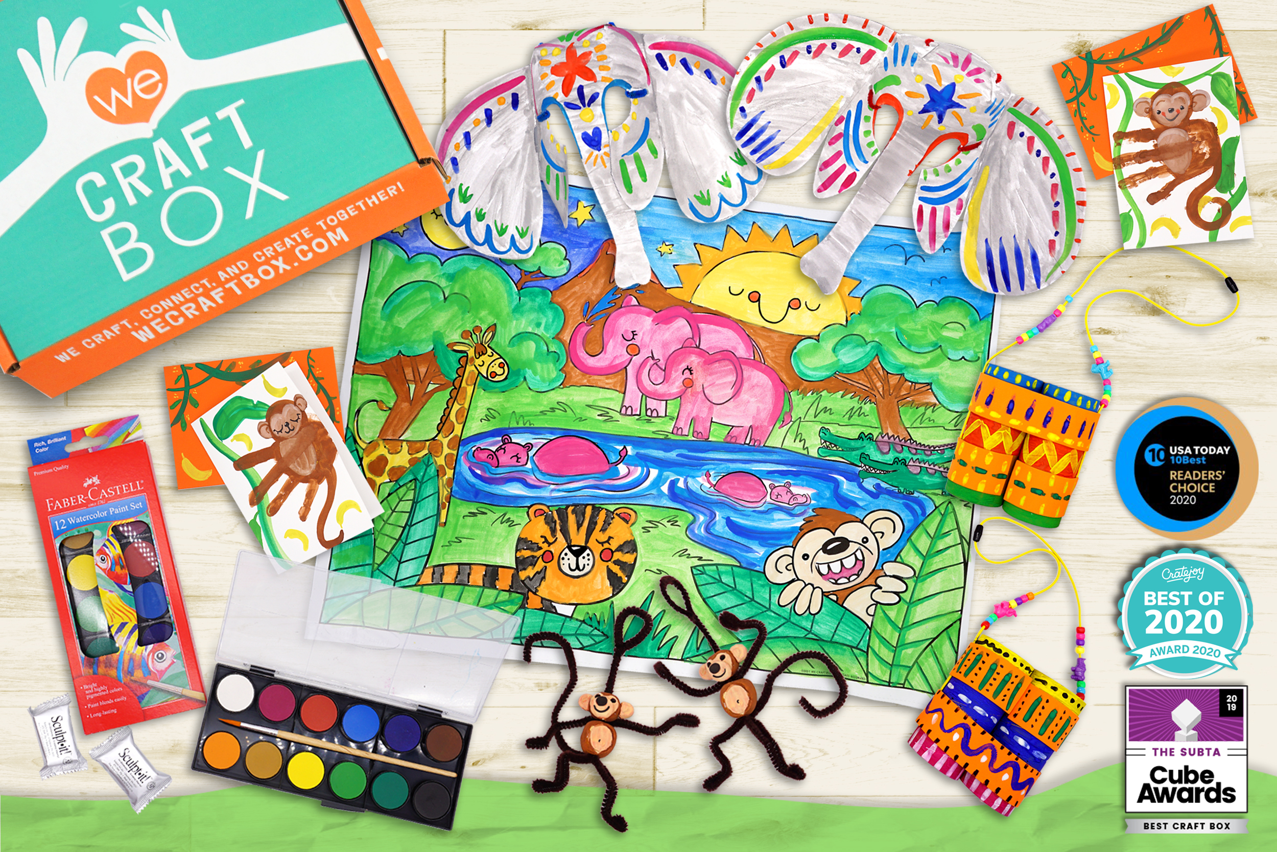 Dinosaur arts and crafts for kids from the We Craft Subscription box.